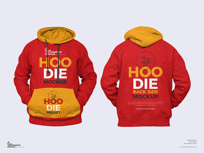 Free Front and Back Hoodie Mockup