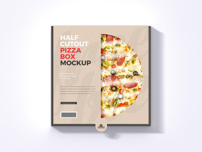 Free Half Cutout Pizza Box Mockup (PSD)
