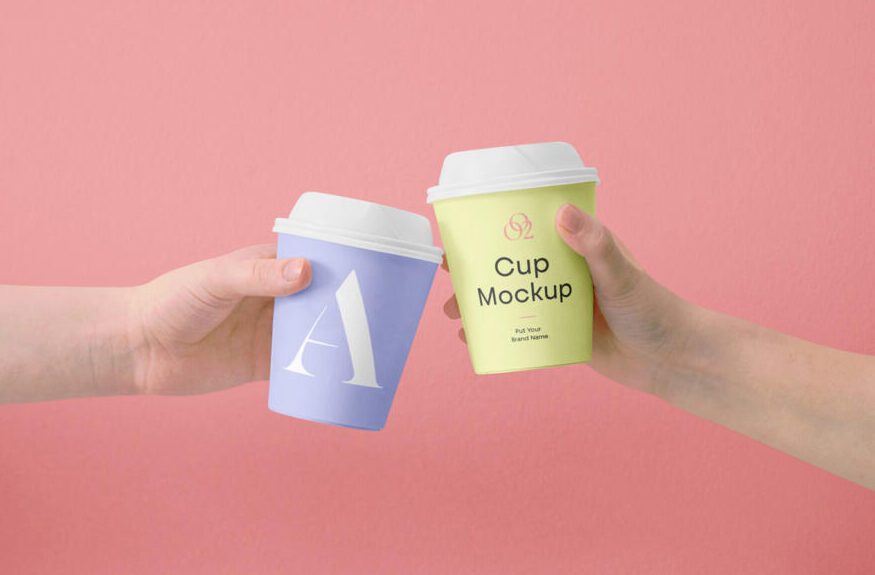 Free Hand Holding Mini Coffee Cup Mockup