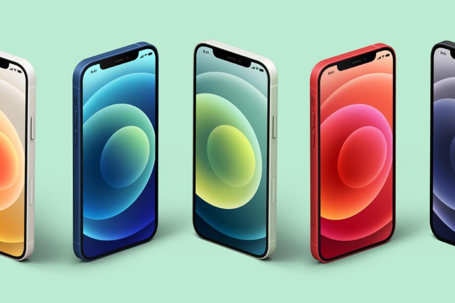Free Isometric iPhone 12 Mockup Set