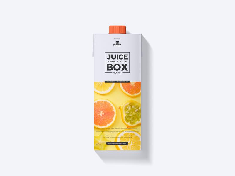 Free Juice Carton Packaging Box Mockup
