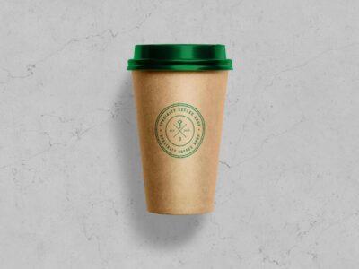 Free Kraft Paper Coffee Cup Mockup
