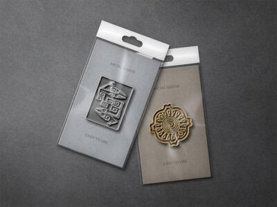 Free Metallic Pin Badges Mockup Set