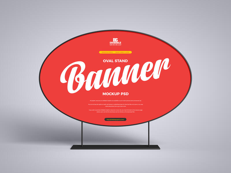Free Oval Stand Banner Mockup (PSD)