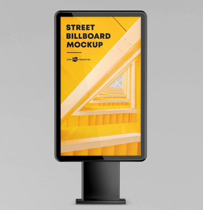 Free Roadside Street Billboard Mockup