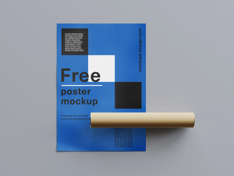 Free Rolled Poster Mockup (PSD)