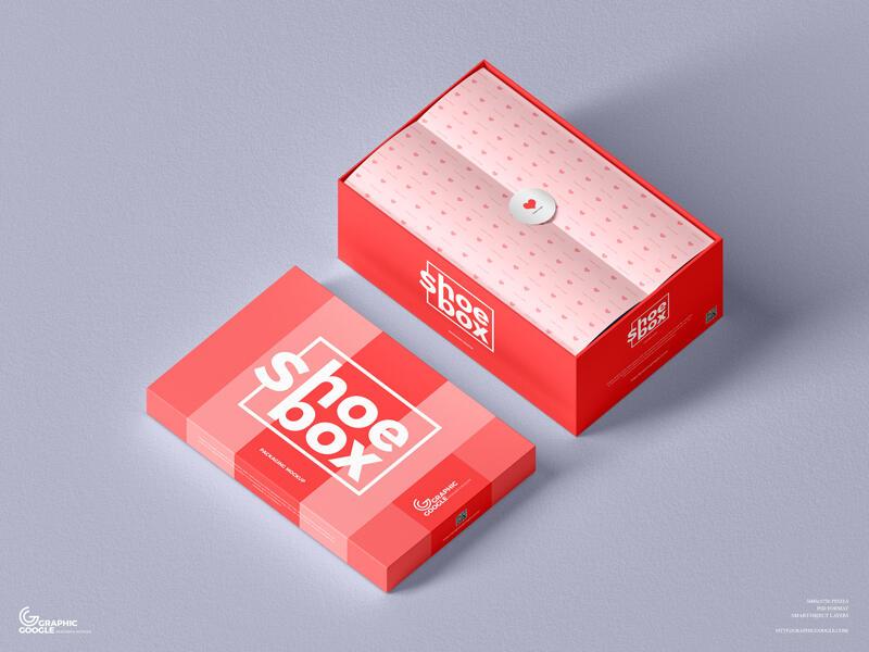 Free Shoe Box Packaging Mockup (PSD)