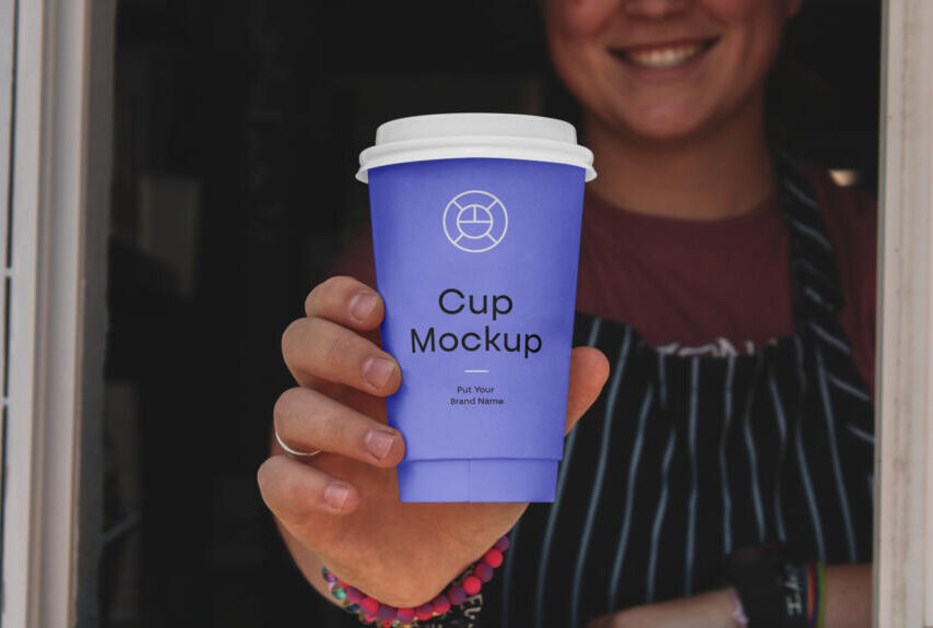 Hand Holding Paper Coffee Cup Free Mockup