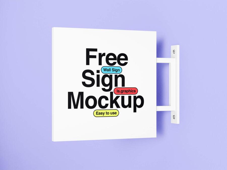 Minimalistic Free Wall Sign Mockup