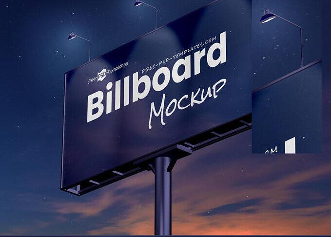 Night Scene Advertisement Billboard Mockup (PSD)