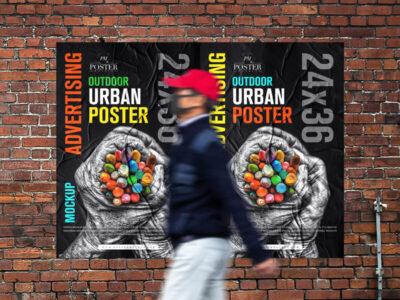 Outdoor Advertising 24×36 Urban Poster Free Mockup