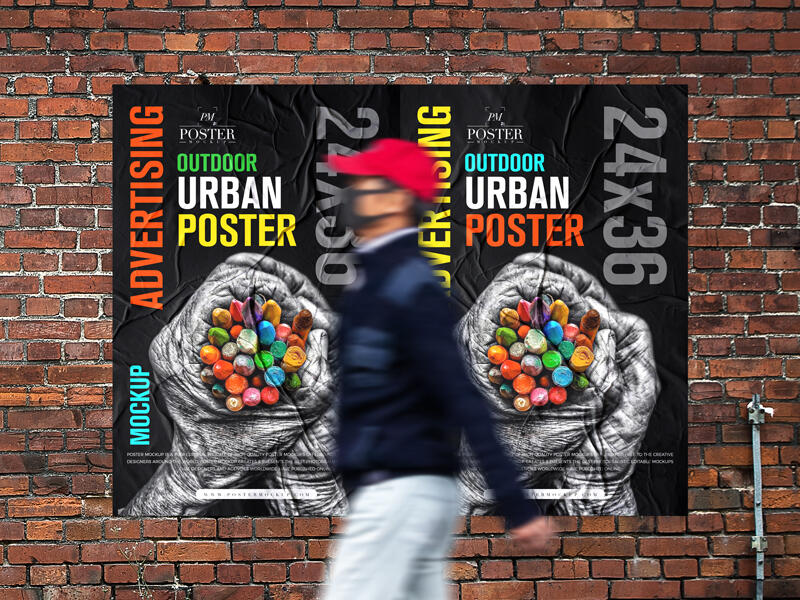 Outdoor Advertising 24×36 Urban Poster Free Mockup