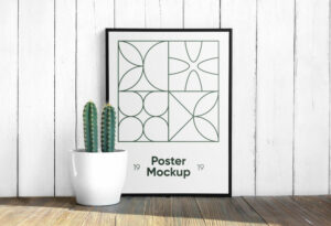 Poster with Cactus Free Mockup