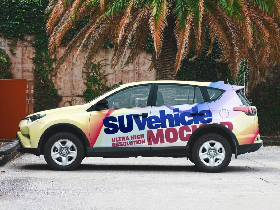 SUV Car Vehicle Branding Free Mockup
