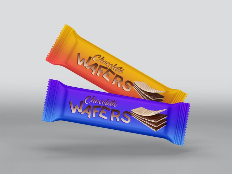 Wafers / Chocolate Bar Packaging Free Mockup