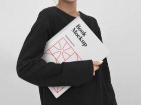 Women Holding Book Free Mockup