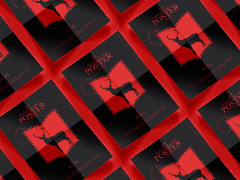 A3 Paper Grid Branding Poster Free Mockup