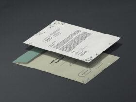 A4 Letterhead & C4 Envelope Free Mockup