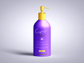 Cosmetic Bottle with Pump Free Mockup