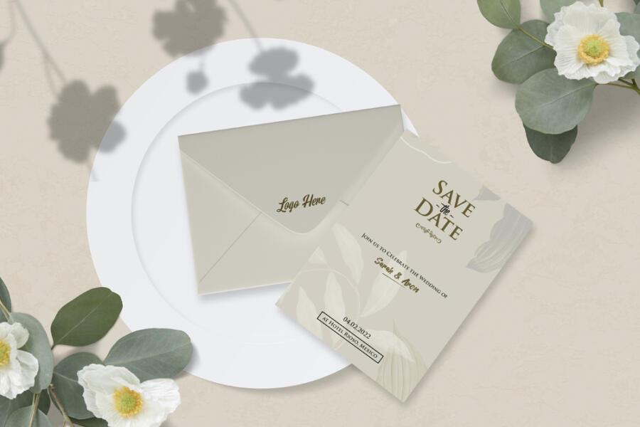Envelope & Card Free Mockup (PSD)