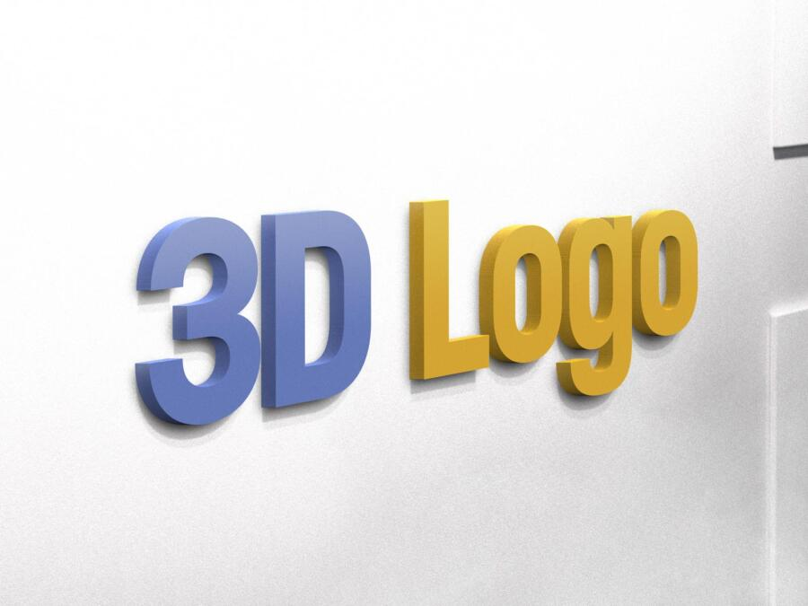 Free 3D Logo on Wall Mockup