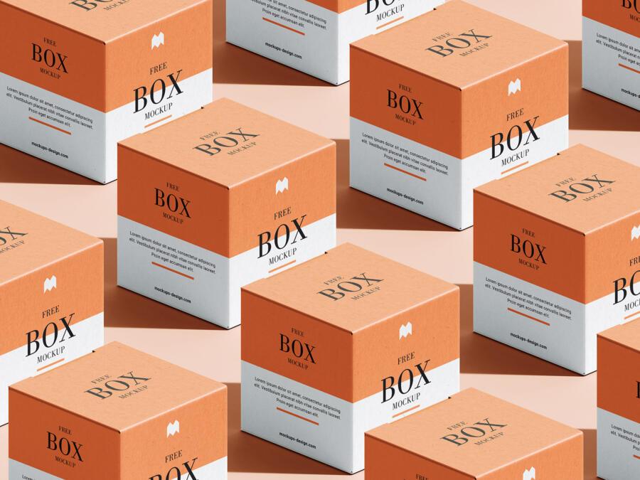 Free Box (in grid layout) Mockup Set