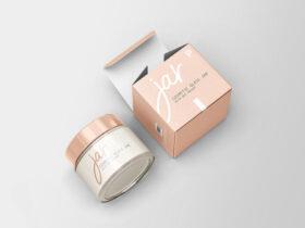 Free Cosmetic Glass Jar with Box Mockup