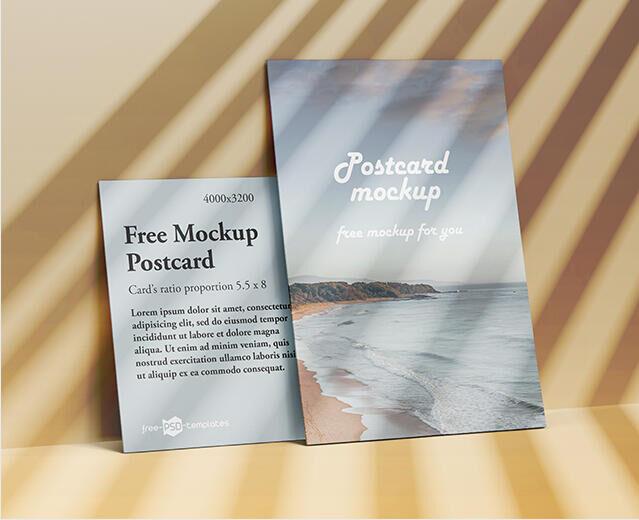 Free Flat Postcard Mockup