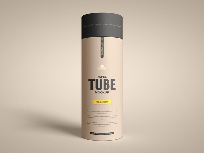 Free Long Paper Tube Mockup (PSD)