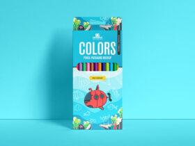 Free Pencil Colors Packaging Mockup
