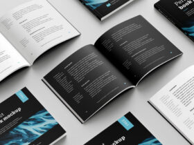 Free Square Book Mockup Set
