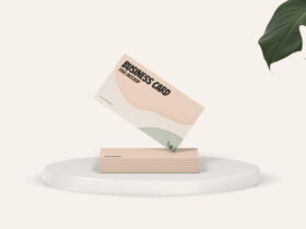 Free Standing Business Card Mockup
