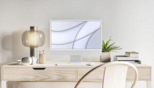 Free iMac Pro on Desk Mockup