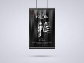 Hanging 24×36 Modern Poster Free Mockup