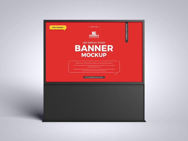 LED Display Stand Banner Free Mockup