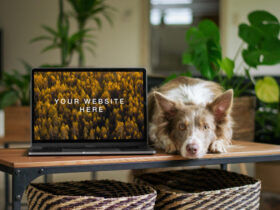 MacBook with Dog Free Mockup