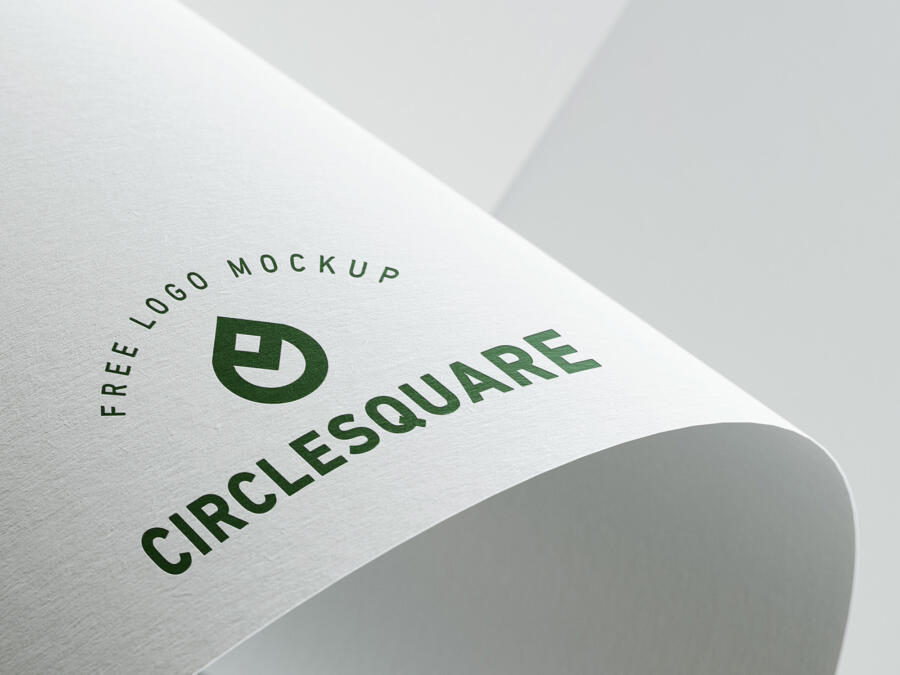 Paper Pressed Logo Free Mockup
