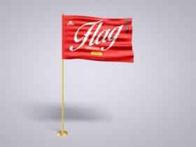 Pole With Flag Free Mockup