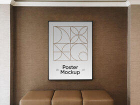 Poster in Hotel Wall Free Mockup