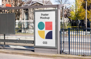 Poster on Bus Stop Free Mockup