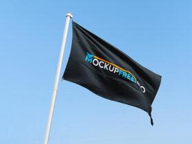 Waving Brand Flag Free Mockup