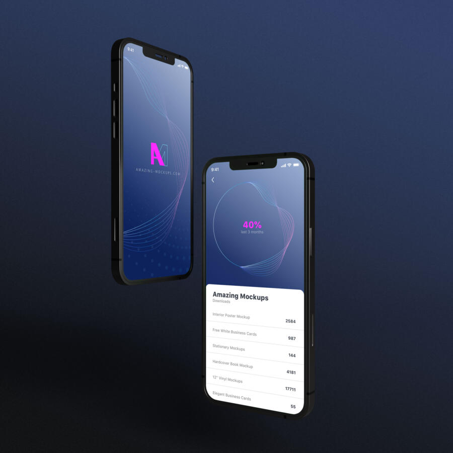 iPhone 12 with 5 views Free Mockup