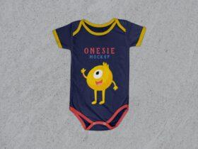 Baby Onesie Free Mockup (PSD)