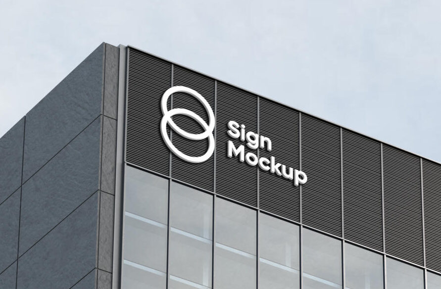 Building Sign Free Mockup