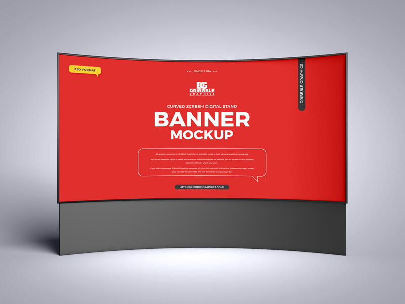 Curved Screen Digital Stand Banner Free Mockup