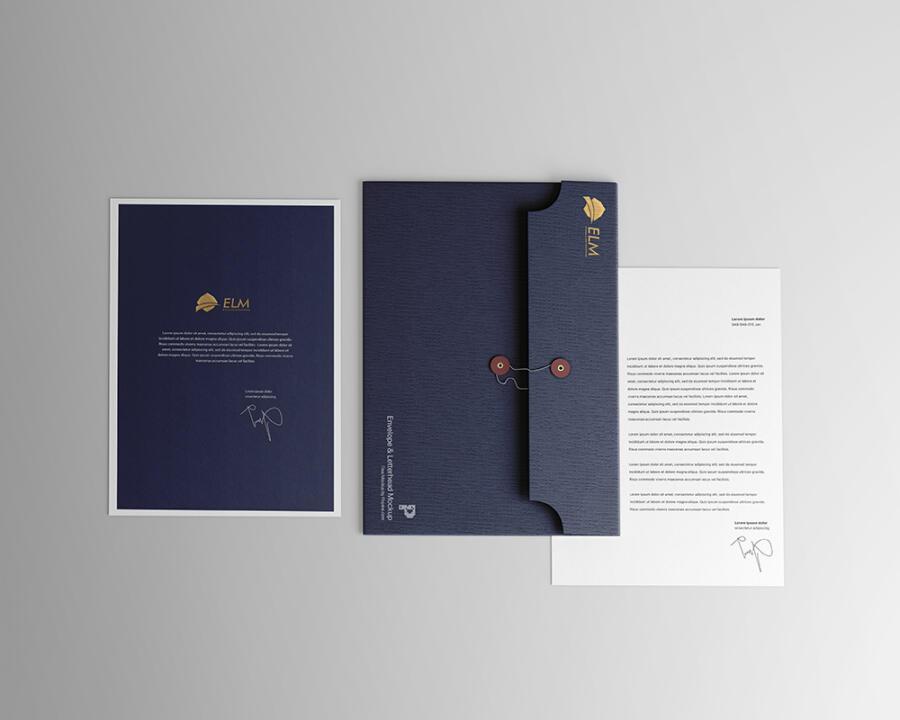 Envelope with Letterhead Free Mockup