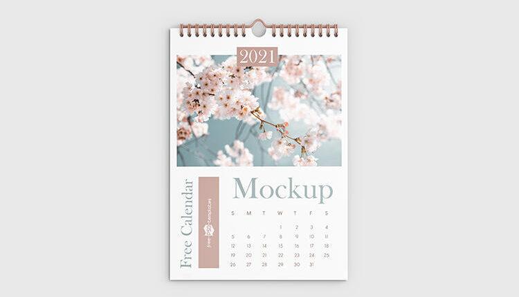 Free 3 Angles Wall Calendar Mockup