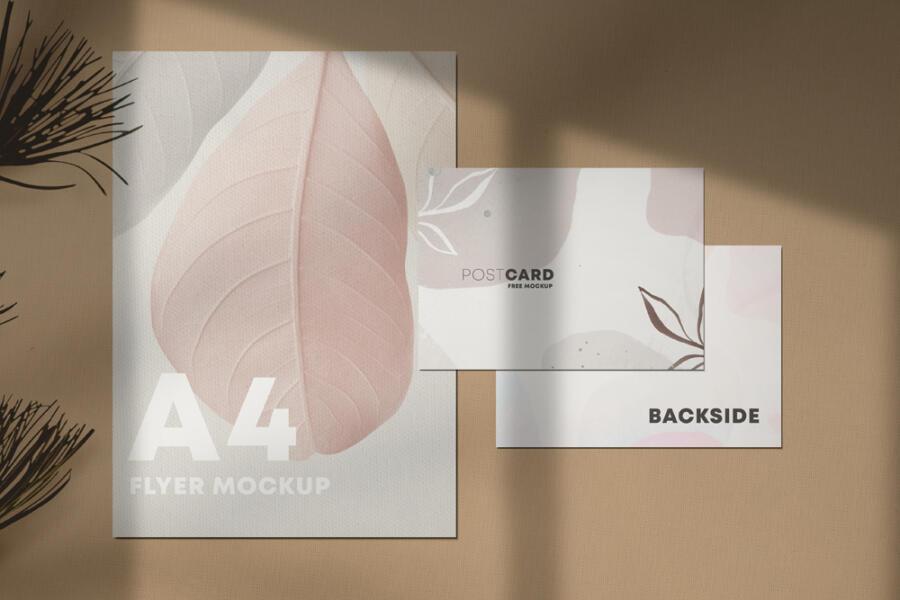 Free A4 Flyer & Postcard Mockup (PSD)