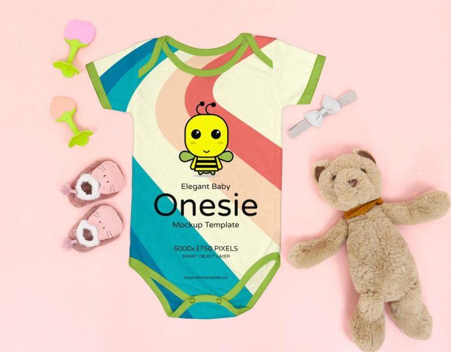 Free Elegant Baby Onesie Mockup