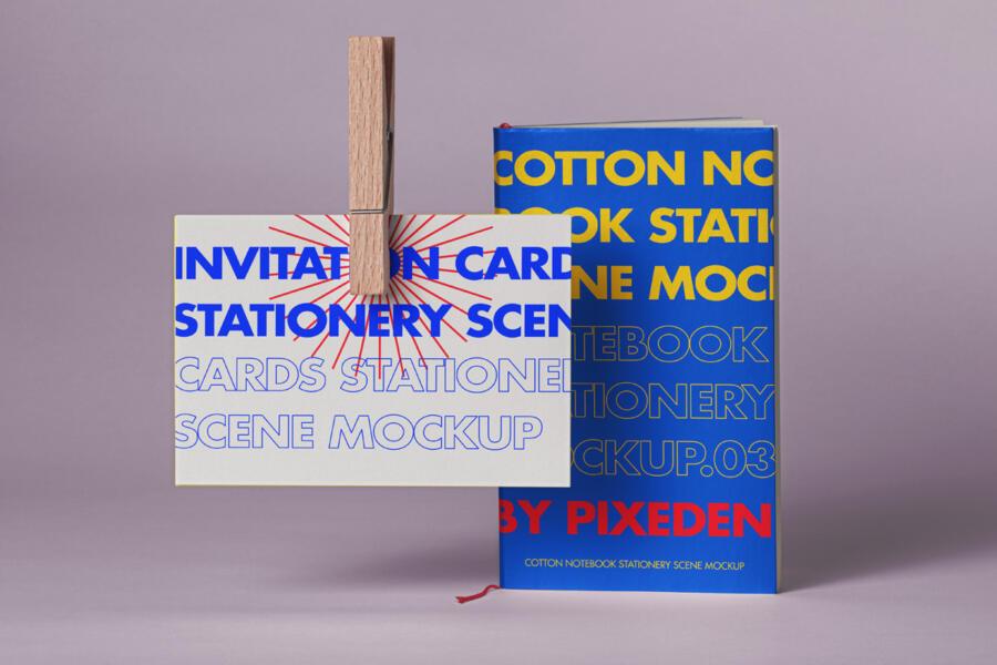 Free Notebook Card Mockup Scene